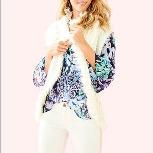 Lilly Pulitzer Torini Faux Fur Vest NWOT
